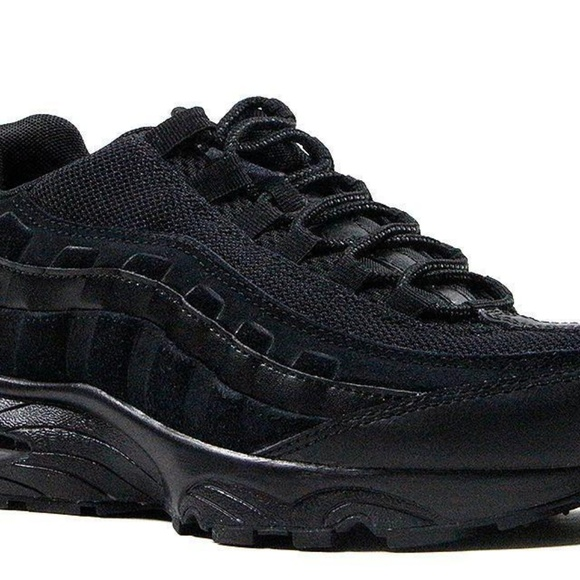 best loved 6e2d0 67422 NIKE AIR MAX 95 GS 307565-055 LEATHER BLACK